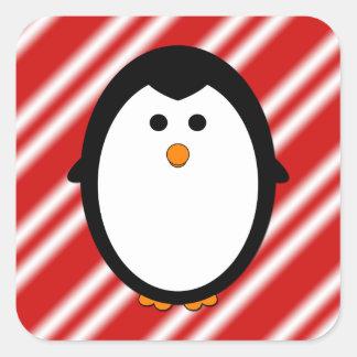 Penguin stripes square sticker