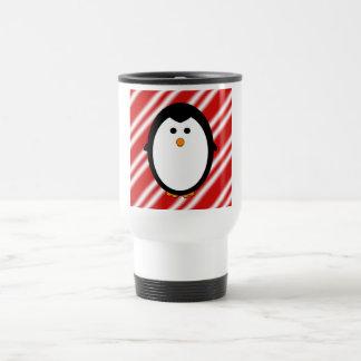 Penguin stripes travel mug