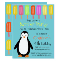 Penguin Summer Party with Popsicles Card