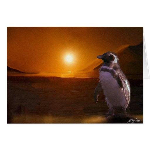 PENGUIN SUNSET GREETING CARD