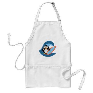 Penguin surfer adult apron