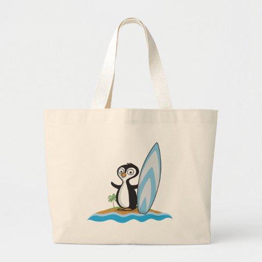 Penguin Surfer Jumbo Tote Bag