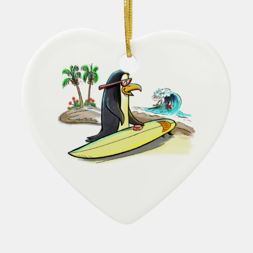pEnGuIn sUrFeR Double-Sided Heart Ceramic Christmas Ornament