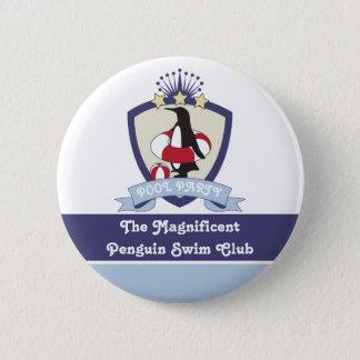 Penguin Swim Club Kids Birthday Pool Party Favor Pinback Button