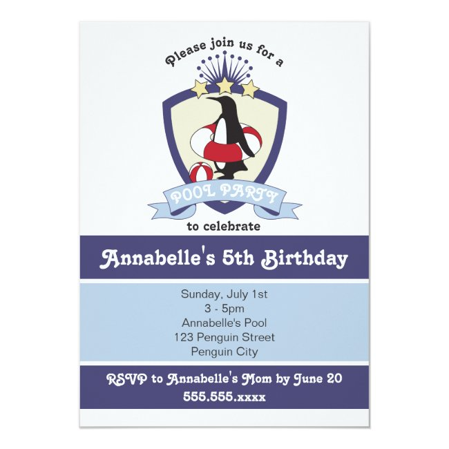 Penguin Swim Club Kids Birthday Pool Party Invites