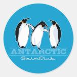Penguin Swimming Classic Round Sticker