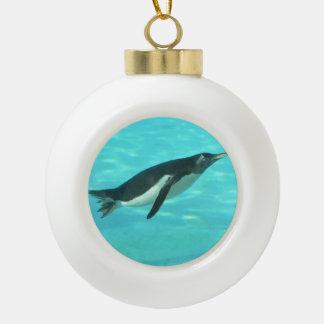 Penguin Swimming Underwater Ceramic Ball Christmas Ornament