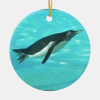 Penguin Swimming Underwater Ceramic Ornament