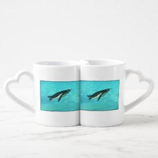 Penguin Swimming Underwater Coffee Mug Set
