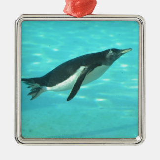 Penguin Swimming Underwater Metal Ornament