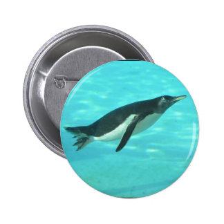 Penguin Swimming Underwater Pinback Button
