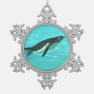 Penguin Swimming Underwater Snowflake Pewter Christmas Ornament