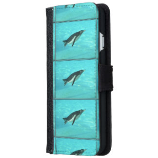 Penguin Swimming Underwater Wallet Phone Case For iPhone 6/6s