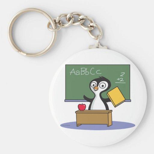 Penguin Teacher Basic Round Button Keychain