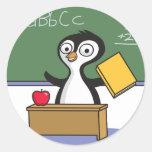 Penguin Teacher Round Sticker