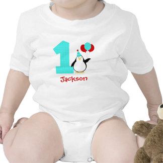 Penguin Teal Red Boy Winter Onederland Birthday Tshirts