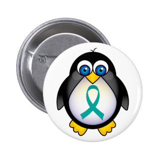 Penguin Teal Ribbon Awareness Button