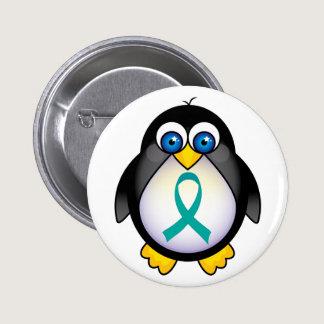 Penguin Teal Ribbon Awareness Button