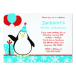 Penguin Teal Snowflakes Winter Onederland Birthday Personalized Announcements