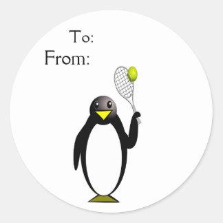 Penguin Tennis Classic Round Sticker