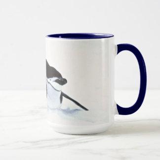 Penguin tobogganing mug
