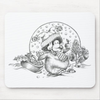 Penguin Trimming a Christmas Tree Mouse Pad
