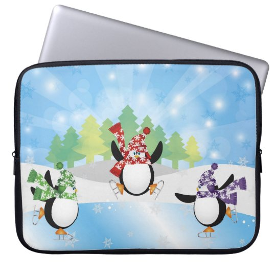 Penguin Trio Figure Skate Electronics Bag Laptop Sleeves