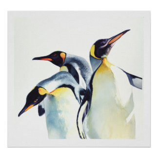 """Penguin Trio"" Wildlife Watercolor Art Poster"