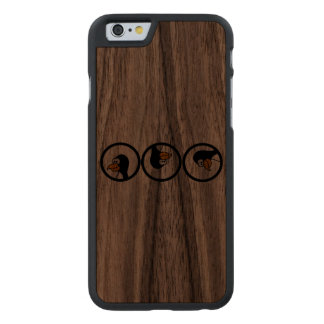 Penguin turns in circles carved® walnut iPhone 6 slim case