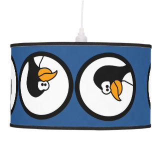 Penguin turns in circles hanging pendant lamps