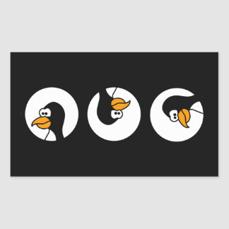 Penguin turns in circles rectangular sticker