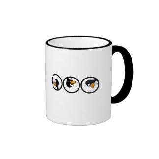 Penguin turns in circles ringer coffee mug