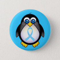 Penguin Turquoise Ribbon Gift Button
