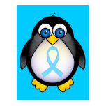 Penguin Turquoise Ribbon Gift Post Cards