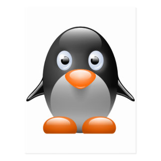penguin tux linux image postcard