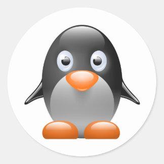 penguin tux linux image round sticker