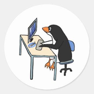 penguin tux system administrator round sticker