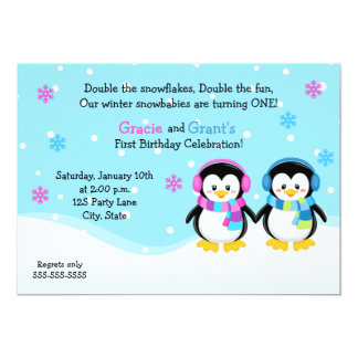 Penguin Twins Birthday Invitation, Boy/Girl Card
