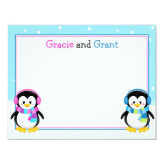 Penguin Twins Thank You Note, Boy/Girl Twins Card
