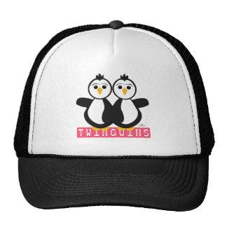 Penguin Twins Twinguins Blocks Pink Trucker Hat