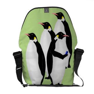 Penguin Using A Mobile Phone Messenger Bag