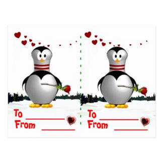 Penguin Valentine Bowlers Postcard