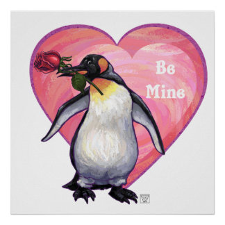 Penguin Valentine's Day Poster