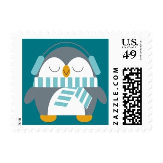 Penguin w/ Blue Scarf & Earmuffs Postage