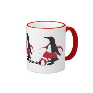 Penguin w/ Inner Tube and Beach Ball Funny Ringer Coffee Mug