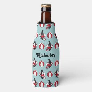 Penguin w/ Inner Tube and Beach Ball Pattern Funny Bottle Cooler