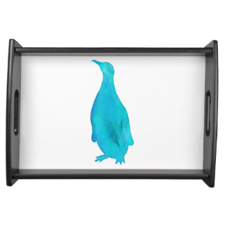 Penguin Watercolor Silhouette Teal Turquoise Aqua Serving Tray