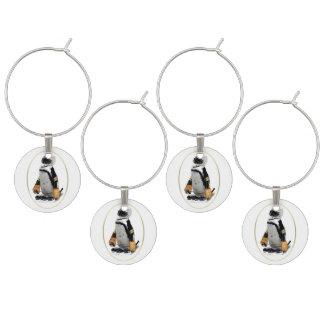 Penguin Wearing Hockey Gear Wine Charm