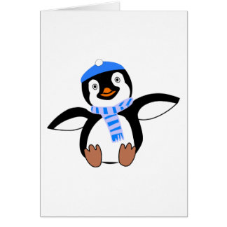 Penguin Wearing Scarf and Snow Cap/Hat in Winter Card