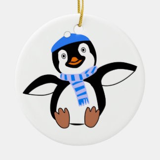 Penguin Wearing Scarf and Snow Cap/Hat in Winter Ceramic Ornament